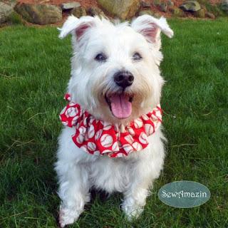 Baseball Dog Scrunchie, Red