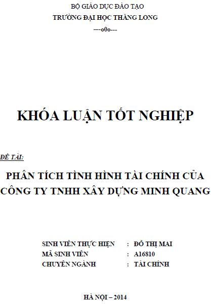Phân tích tình hình tài chính của Công ty TNHH Xây dựng Minh Quang