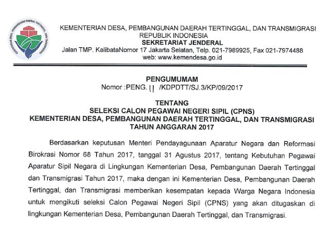 KEMENDESA - Soal dan Pendaftaran CPNS Kementerian Desa, Pembangunan Daerah Tertinggal dan Transmigrasi 2017