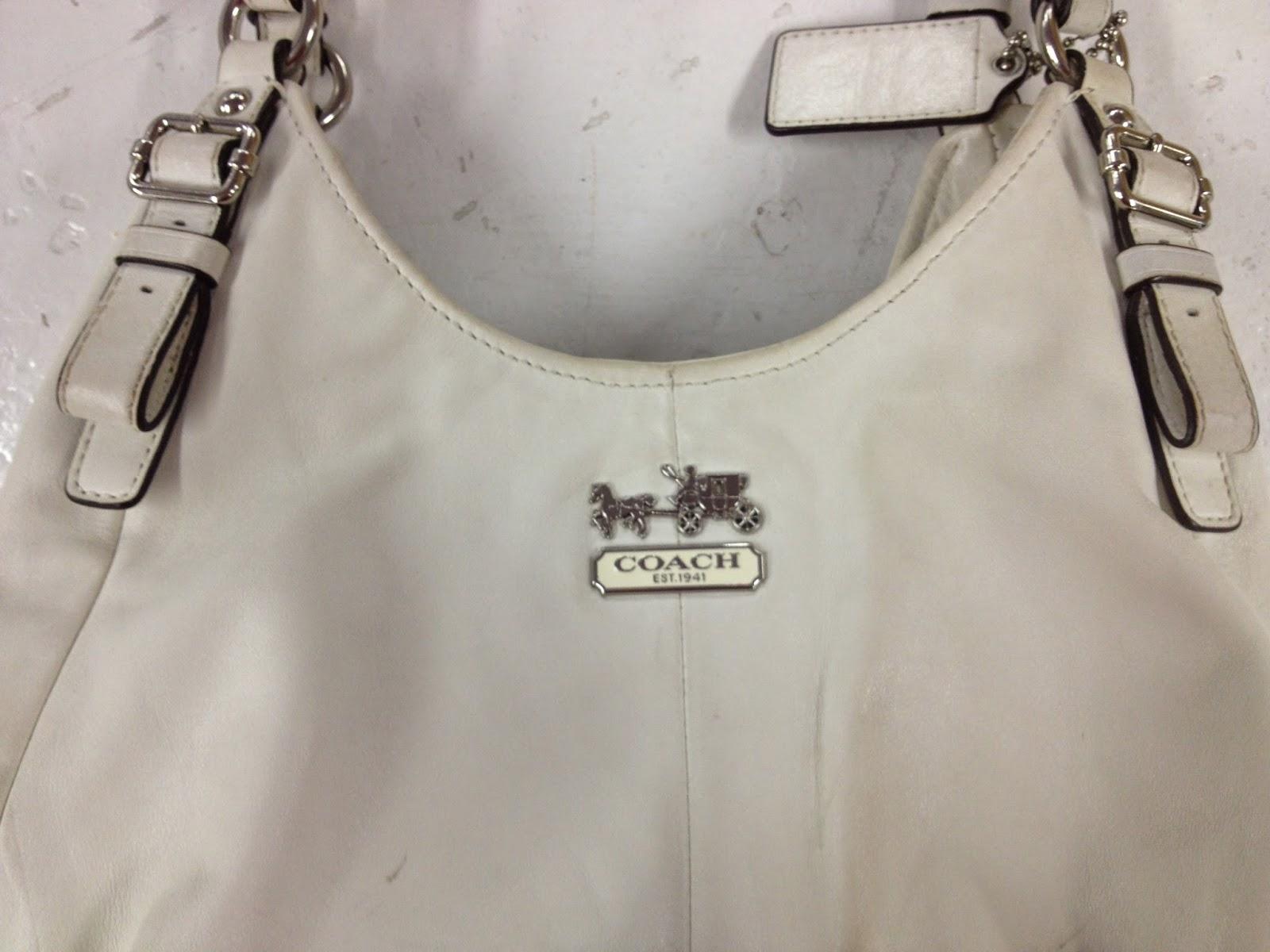 White Leather Coach Handbag Red