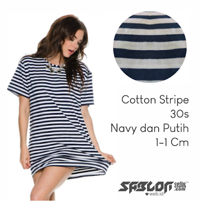 Bikin Kaos Cotton Stripe 30s Combed Navy dan Putih