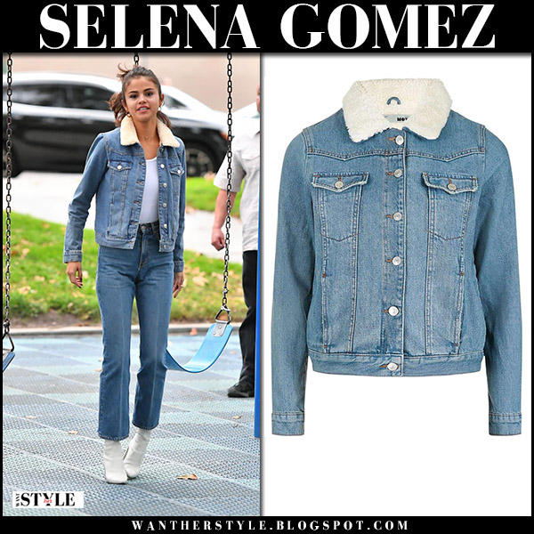 Selena Gomez in denim jacket topshop, cropped jeans and white boots stuart weitzman street style november 2 2017