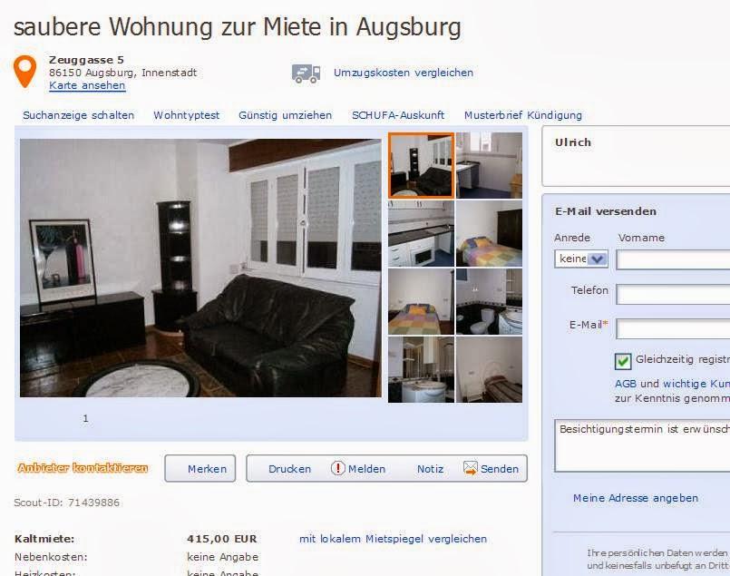 wohnungsbetrugblogspotcom alias Ulrich saubere Wohnung zur Miete in Augsburg Zeuggasse 5