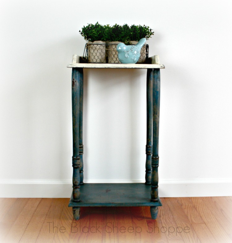 After: Chippy layered paint on small table  gives a modern piece some vintage charm.
