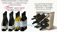 Logo Offerta Vini, prosecco e spumanti : 12 bottiglie + cantinetta in legno omaggio + 15€ buono sconto!