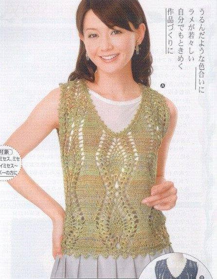 Patrón #778: Blusa Calada a Crochet