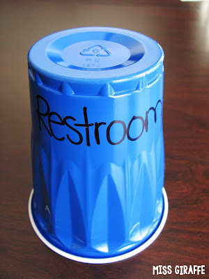 Classroom check out cups is one of many awesome classroom management ideas on this post!! Kids put the cup of where they're going at their desk any time they leave the classroom - do a different color cup for restroom, office, nurse, etc. so you can easily see where every student is!