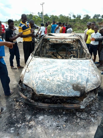 Nigerian Lady Burnt Alive As Car Filled With Gas Explodes, After Police Chased Them (Photos)