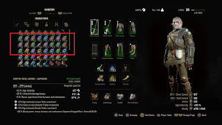 Picture of inventory screen from Witcher 3 with mutagen decoctions.