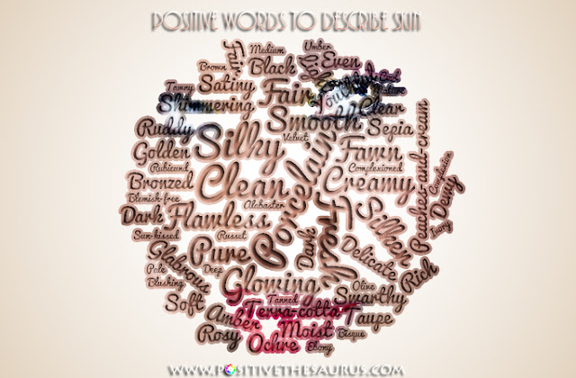 positive words to describe skin word cloud
