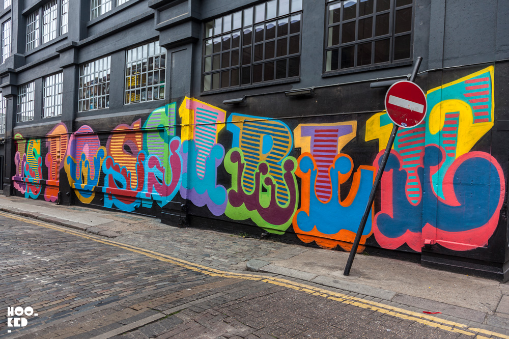 Shoreditch Street Art Mural by Ben Eine on Ebor Street
