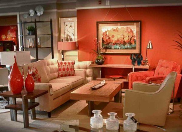 Decoraci n interior de salas en color naranja colores en for Decoracion naranja