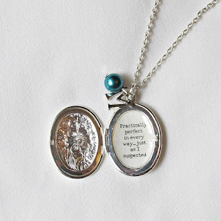 image mary poppins quote necklace locket practically perfect in every way literature typography two cheeky monkeys