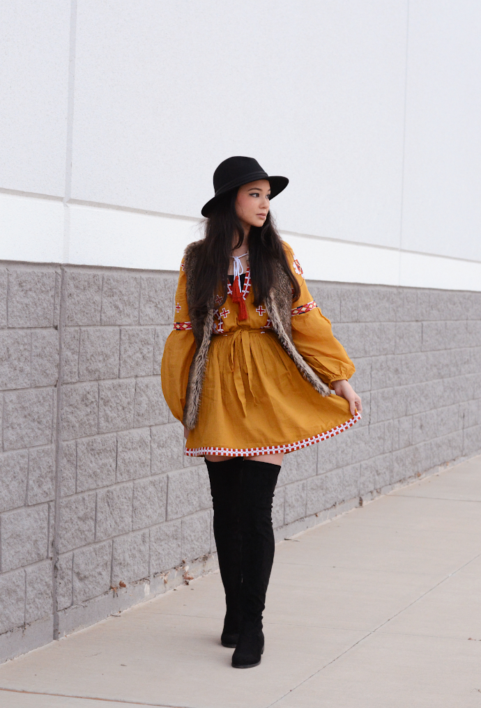 Boohoo Mustard Embroidered Tie Smock Dress