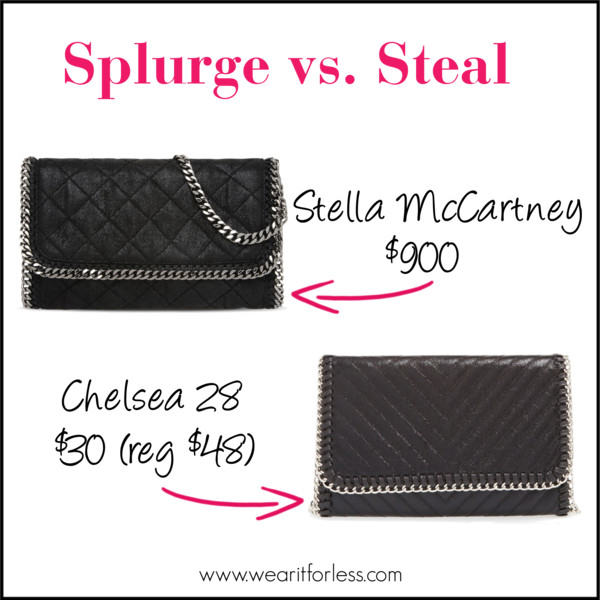 Look-a-like clutch, Stella McCartney black clutch with chain link, Chelsea black clutch with chain