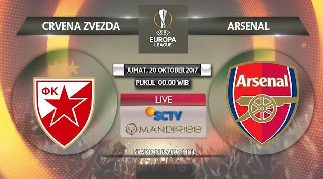 pada matchday ketiga Grup H Liga Europa di Stadion Rajko Mitic Berita Terhangat Prediksi Bola : Crvena Zvezda Vs Arsenal , Jumat 20 Oktober 2017 Pukul 00.00 WIB @ SCTV