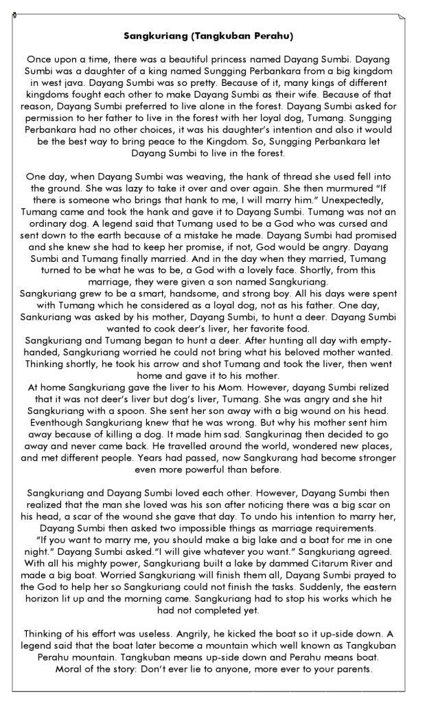 Cerita Sangkuriang Dalam Bahasa Inggris : cerita, sangkuriang, dalam, bahasa, inggris, Cerita, Gunung, Tangkuban, Perahu, Dalam, Bahasa, Inggris