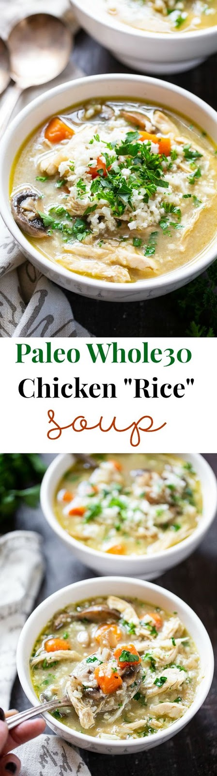 "Instant Pot Chicken Soup with ""Rice"" {Paleo, Whole30"