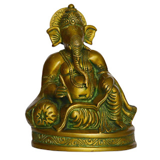 DronaCraft Lord Ganesha Writing Brass Statue