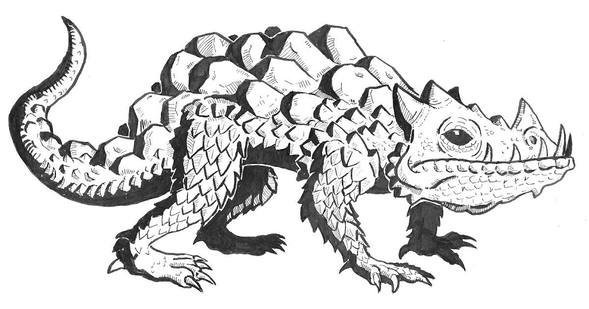 Inktober Monstrosities: R for Rock Reptile