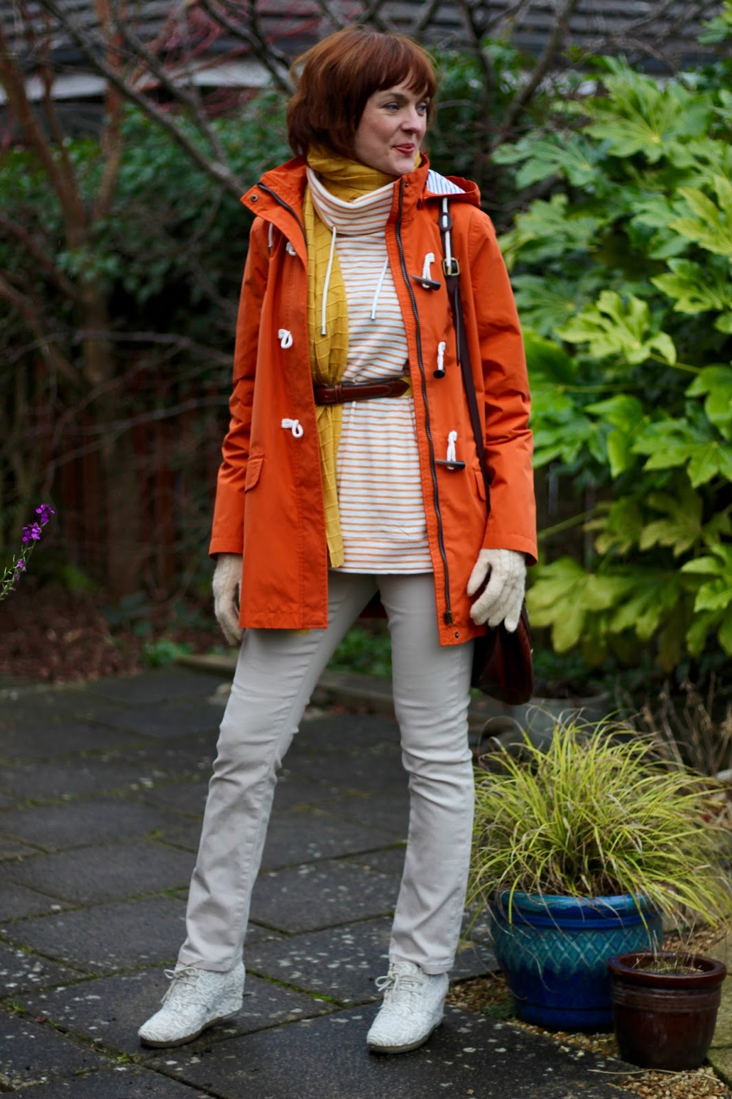 Bright & Light Spring Colours when it's Wet & Cold | Orange Waterproof & Cream Jeans