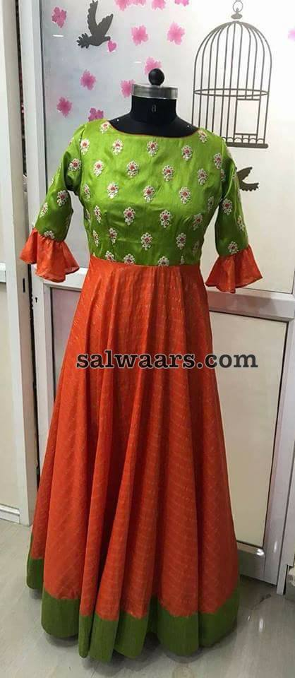 Orange Green Stripes Salwar