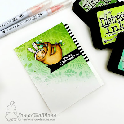 You are Ear-resistable Card by Samantha Mann - Newton's Nook Designs, Distress Inks, Easter #inkblending #sloth #cards #handmadecards