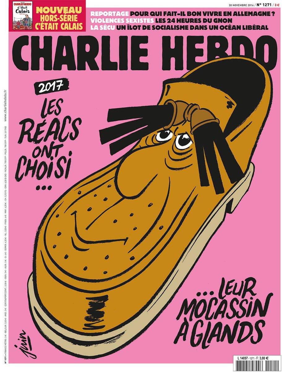 3793fc5547 Une du Charlie Hebdo du 30 Novembre 2016 :