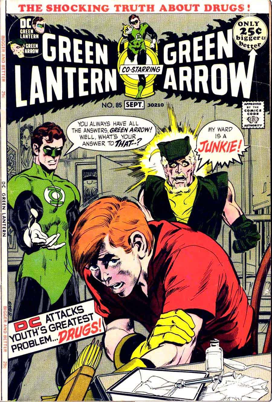 Green Lantern Green Arrow #85 dc comic book cover art by Neal Adams
