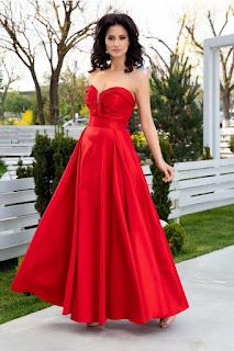 Rochie de ocazii si nunti rosie lunga de seara