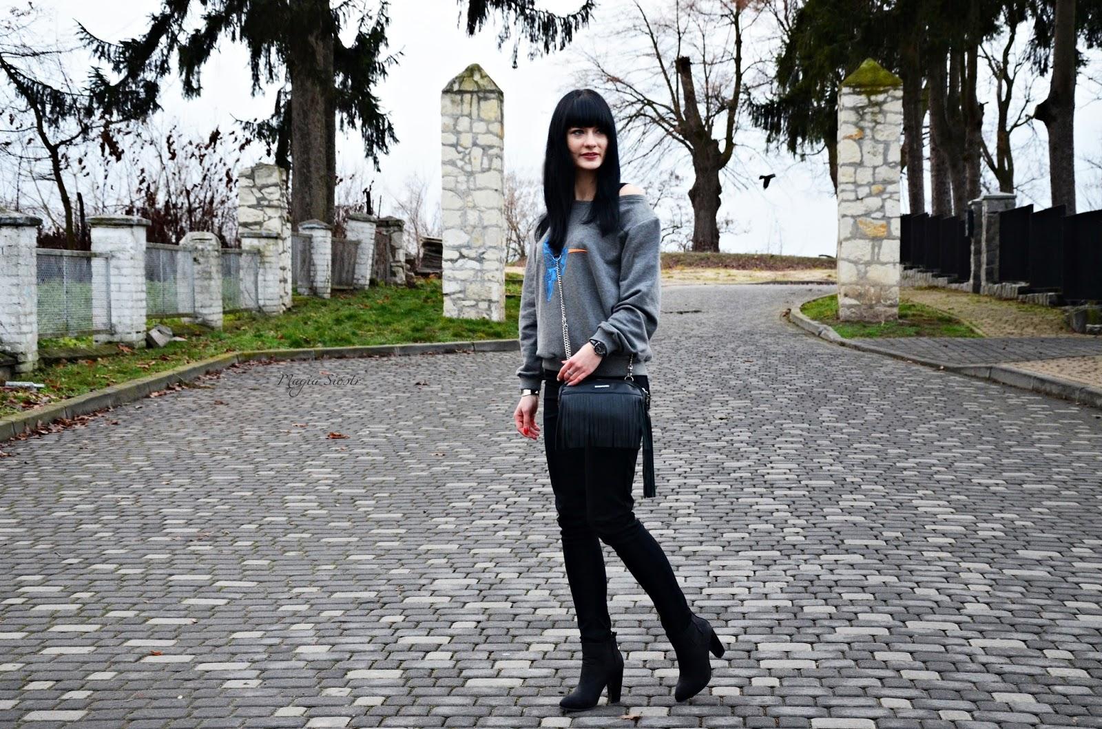 leniwa stylizacja, stylizacja na sobotę, dresowa bluza, czarne spodnie
