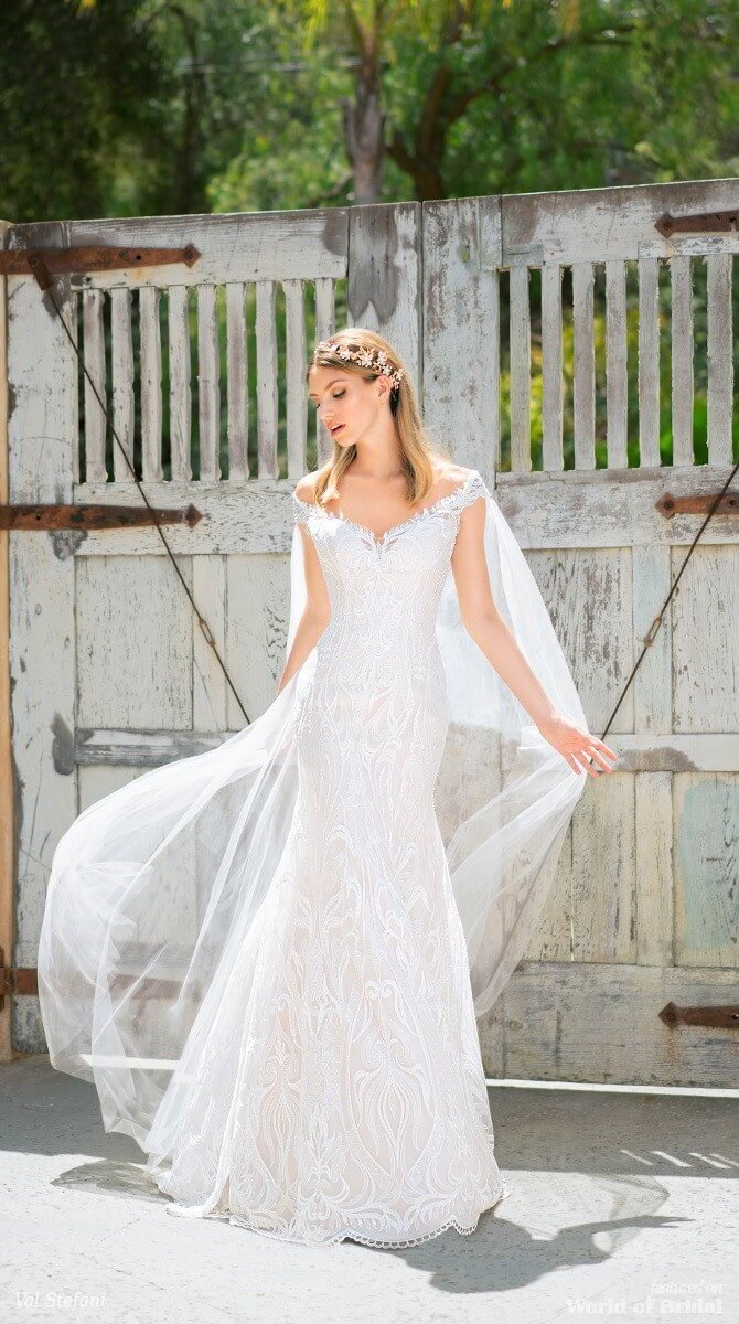 Val Stefani Spring 2018 Mermaid Wedding Dress With Off the Shoulder Cape Sleeves