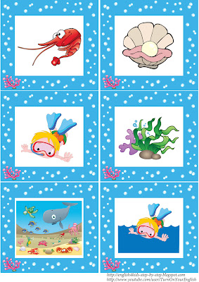 sea animals flashcards without words