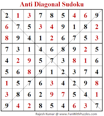 Anti Diagonal Sudoku (Fun With Sudoku #247) Puzzle Solution