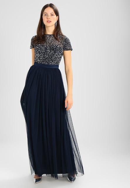 Maya Deluxe Cap Sleeve Full Cluster Embellished Dress