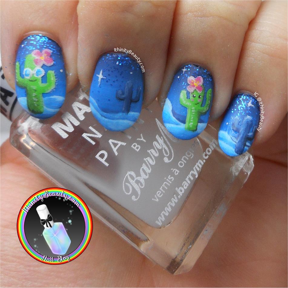 Freehand Pretty Cactus Nail Art | IthinityBeauty.com Nail Art Blog