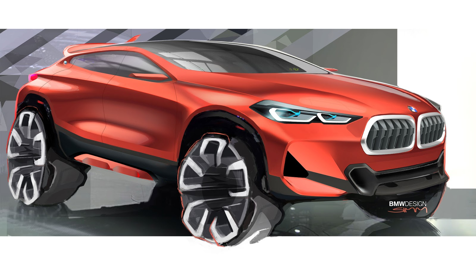 BMW X2 sketch by Sebastian Simm - front quarter view in red