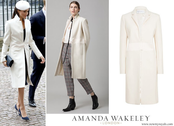 Meghan Markle wore Amanda Wakeley Cream Sculpted Tailoring Crombie Coat