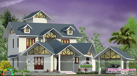Semi colonial style house architecture 3d rendering
