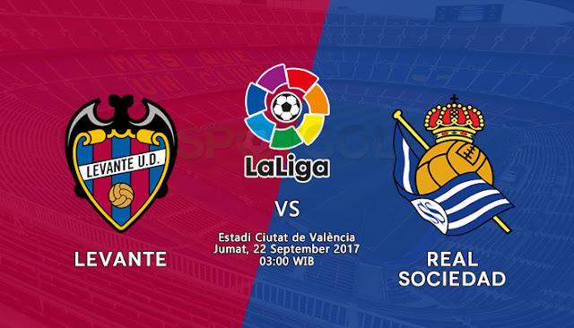 Kompetisi La Liga Spanyol putaran kelima akan kembali menyuguhkan tontonan menarik pada p Berita Terhangat Prediksi Bola : Levante vs Real Sociedad , Jumat 22 September 2017 Pukul 03.00 WIB