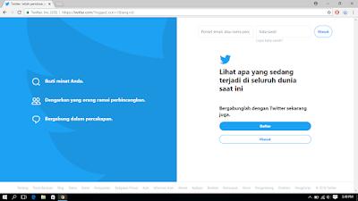 Halaman login akun twitter