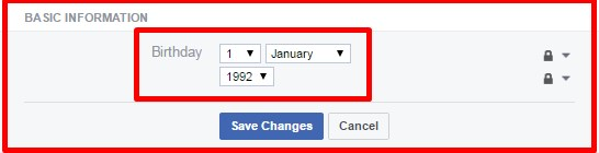 how to change date of birth on facebook account online