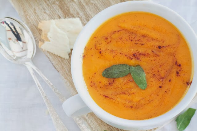 Healthy Roasted Sweet Potato Apple and Sage Soup