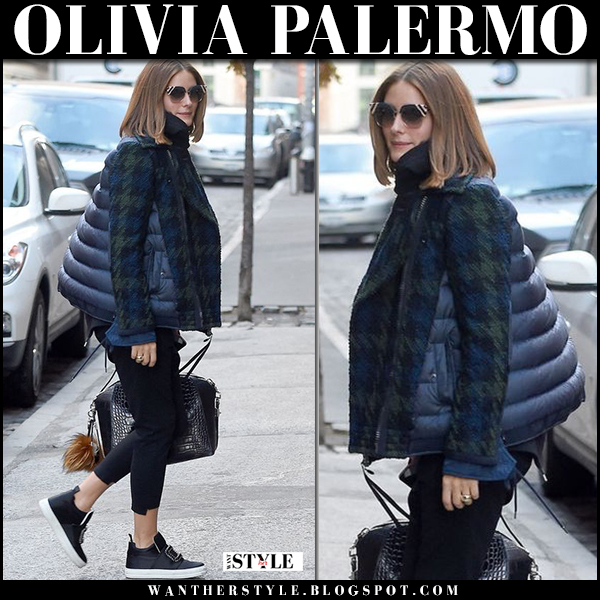 Olivia Palermo in navy puffer houndstooth sleeve jacket moncler, skinny pants and sneakers winter street style january 2018
