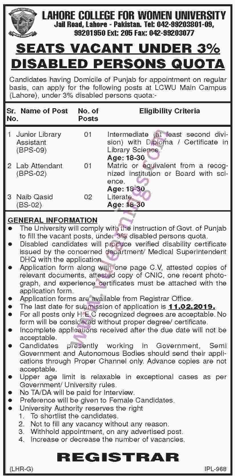JOB IN LAHORE COLLEGE FOR WOMEN UNIVERSITY
