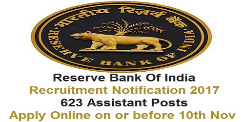 RBI Recruitment Notification 2017 for 623 Assistant Posts