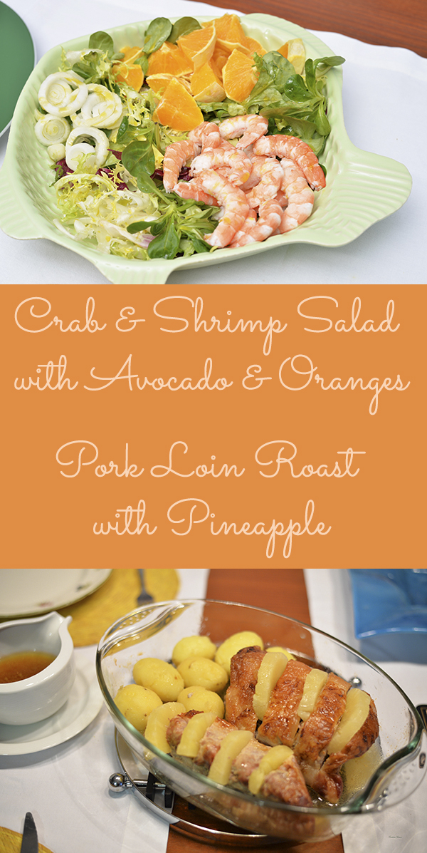 Crab and Shrimp Salad with Avocado and Oranges pork loin roast with pineapple