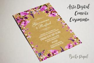 arte convite casamento floral lilás roxo rosa rústico