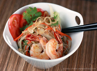 prawn and papaya salad with lime dressing recipe