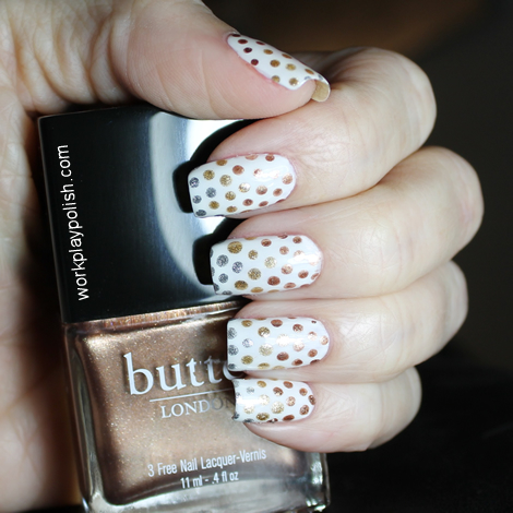 OPI Alpine Snow with Butter London The Old Bill and Sally Hansen Golden and Silver City dots